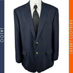 STAFFORD 48L Blue Gold Button Wool Poly Sport Coat